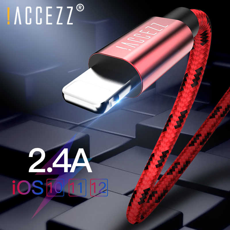! Accezz USB Kabel untuk Apple iPhone X XS Max XR 2.4A Pengisian Kabel untuk iPhone 8 7 6 S 5 S Plus Mobile Phone Data Sync Charger Line