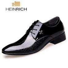 e03fa299 HEINRICH hombres Zapatos de cuero italianos marca de moda piel de serpiente Zapatos  Hombre Lace-Up punta estrecha formales Zapat.