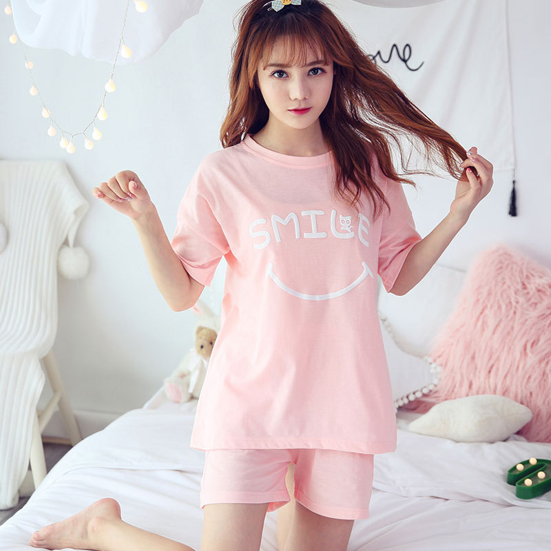 Women's Cotton   Pajamas     Sets   2 Pieces Pyjama for Women Summer Sleepwear   Set   Short-sleeved Pants V-neck New Female Homewear Suit