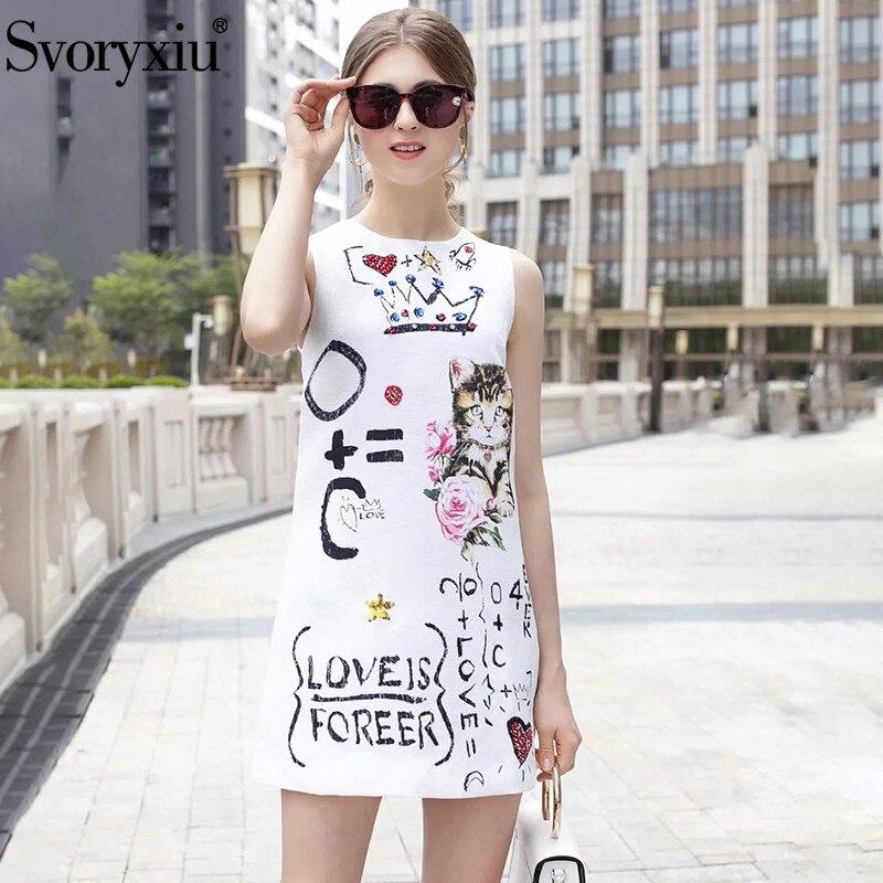 Svoryxiu verano pista diseñador tanque Mini vestidos carta gatito impresión de relieve la calle vestido-in Vestidos from Ropa de mujer    1