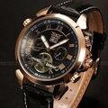 O Relógio Automático dos homens Relógios Mecânicos Turbilhão Volante de Couro de Luxo Da Marca Homens relógio de pulso relogio masculino