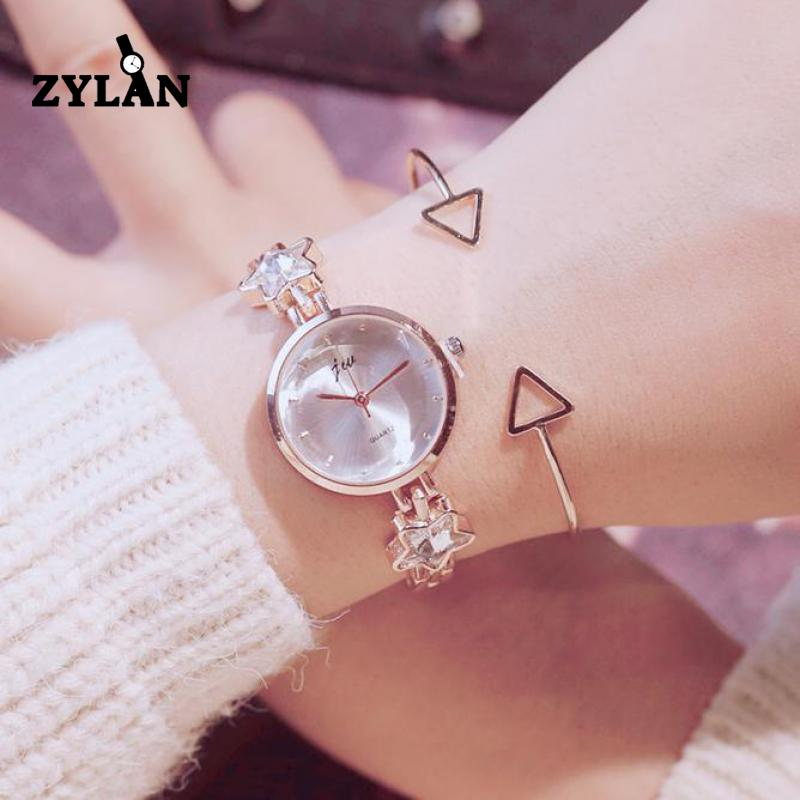 ZYLAN Luxury Crystal Bling Star Women Bracelet Watch Slim Band Small Dial Ladies Bangle Wristwatches Female Hour Gold Watches full wooden watches small band bracelet bangle wood watch women female clock fashion