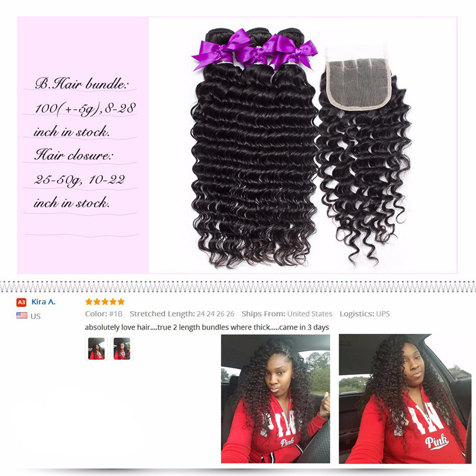 Peruvian Deep Wave Bundles With Closure 4x4 Swiss Lace Deal Remy Curly Weave Human Hair Products 2/3/4 Bundles With Closure