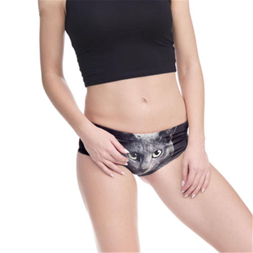 Women Underwear Green Eyes Black Cats 3D Printing Sexy Panties Panty Interior Mujer Bragas Culotte Femme Briefs Lingerie