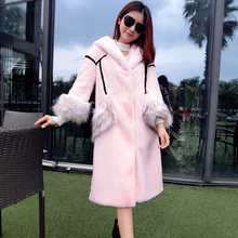 Women with a hood pink fashion patchwork fox fur coat