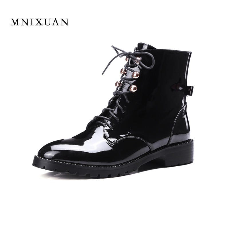 Ankle boots for women 2017 autumn winter patent leather lace up ladies shoes black short western martin boots with rivets size40 fall flat black waterproof 2017 women shoes retro front lace up casual ankle boots autumn patent leather chunky booties vintage