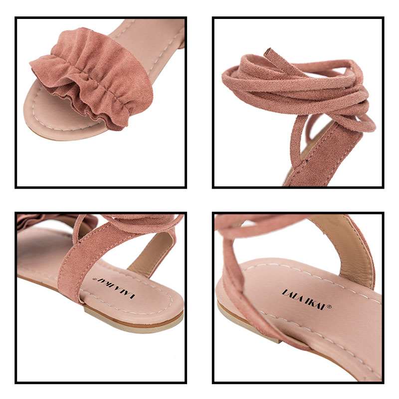 6502ddc958a LALA IKAI Bohemia Ankle Strap Flat Sandals Shoes Lace Up Woman Flower Sweet Beach  Sandals Shoes chaussure femme 0605