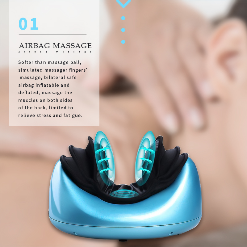 Therapeutic Air Pressure Neck Massage Pillow with Heating alexika neck pillow air burgundy red 9517 0008