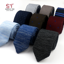 Knitted-Tie Cravat Party-Accessories Woven Triangle Striped Classic Men Solid Yiyanyang