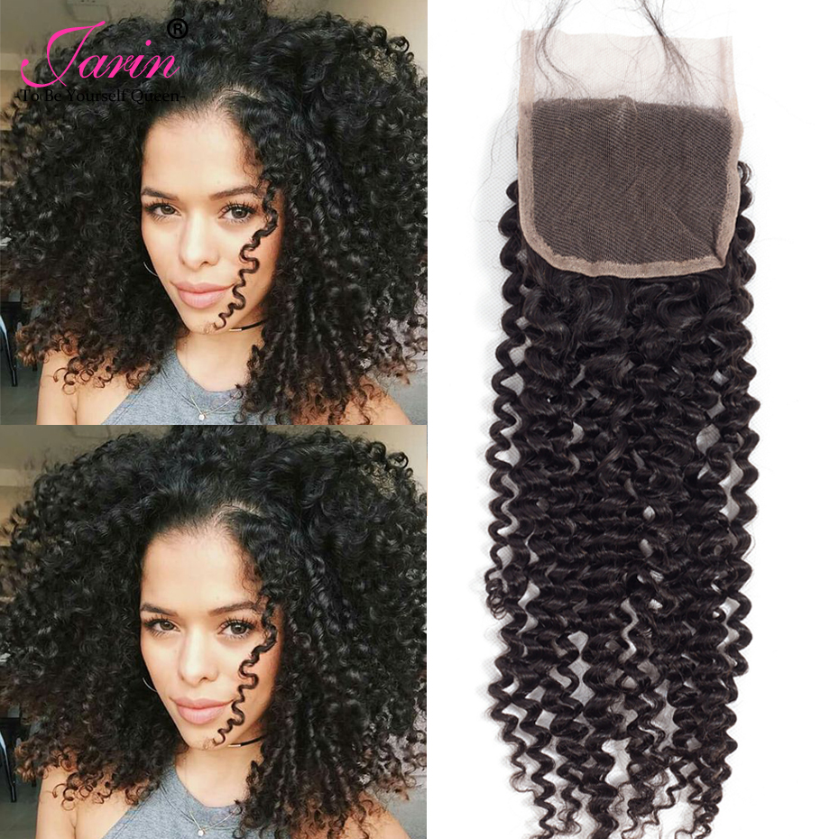 Jarin Indian Deep Curly Lace Closure Free Parting Bleached Knot 4x4 Swiss Lace 100% Remy ...