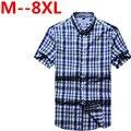 10XL 9XL 8XL 6XL 4XL Men's short-sleeved plaid shirt summer England shirt mens slim fit casual shirts short sleeve shirts male