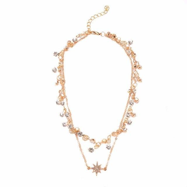 2e6a177420f9 2018 nueva moda Diamantes con piedras falsas cristal Collares copo cadena  gargantilla de oro collar mujeres