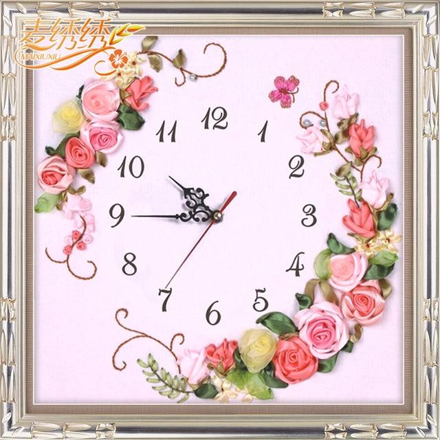 Reloj de Flores cuadrado cinta 3D bordado dormitorio sala de estar ...
