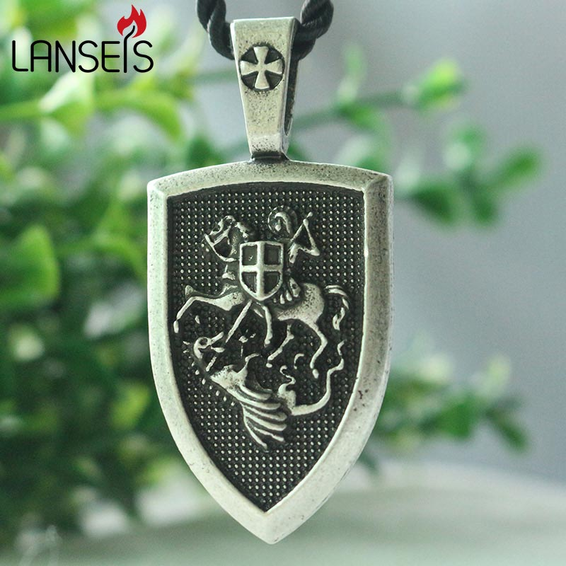 lanseis 1pcs dropshipping men necklace ST.GEORGE Protect US Saint Shield Protection cross medal pendant saint talisman jewelry