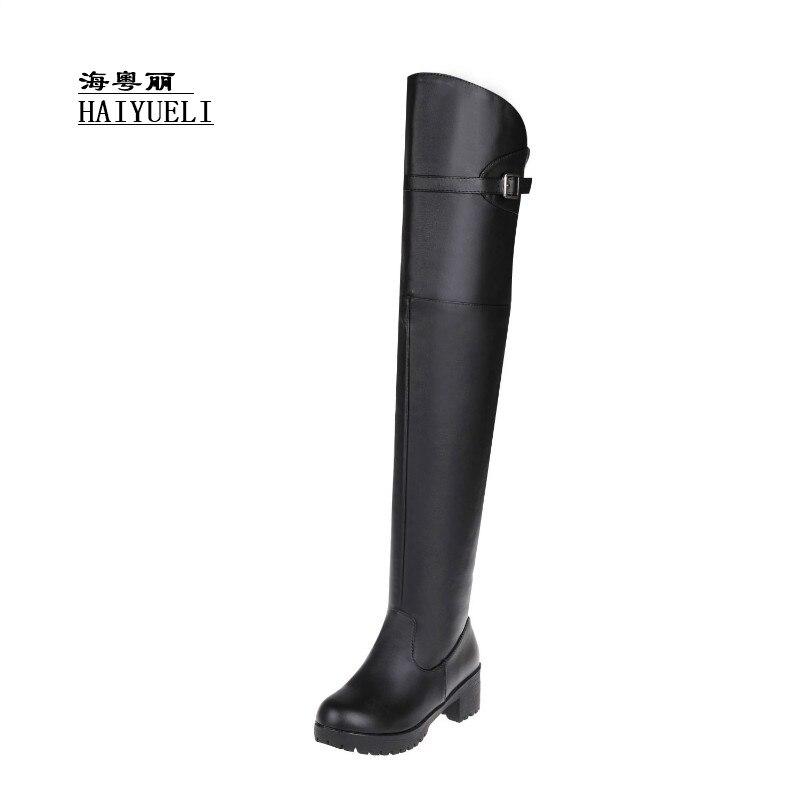 Schwarzes Starke Ferse Ritter hohe Stiefel Knie Frauen Herbst Schuhe Winter qIzwAA