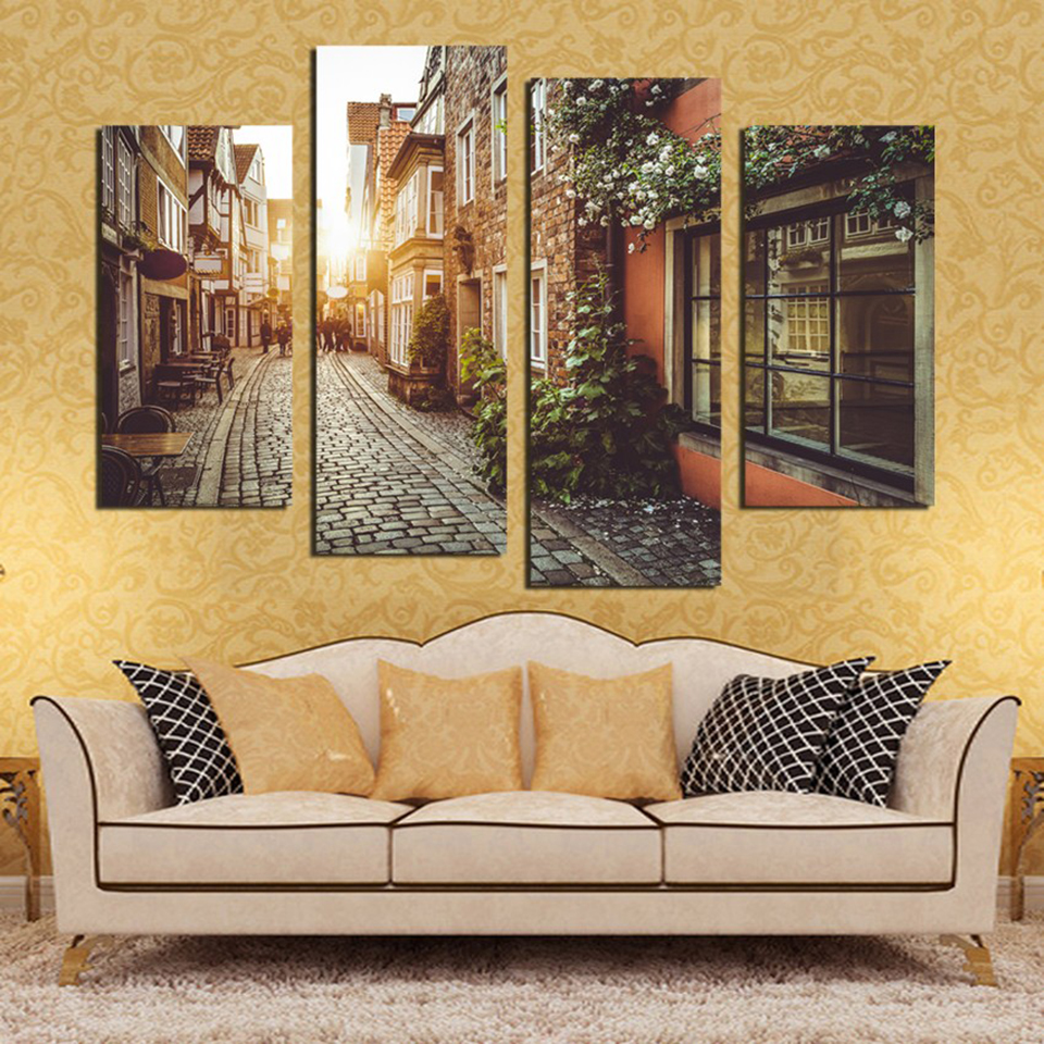Art Painting Canvas Poster Modular 4 Panel Street Building Landscape City Frame Home Decor Living Room Wall Printed Pictures no frame canvas