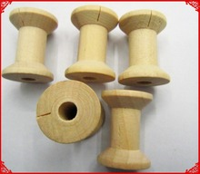 Free Shipping wholesale  3cm Natural color Wooden Bobine Classic style DIY tool wood roll Spool 80pcs 15006002002