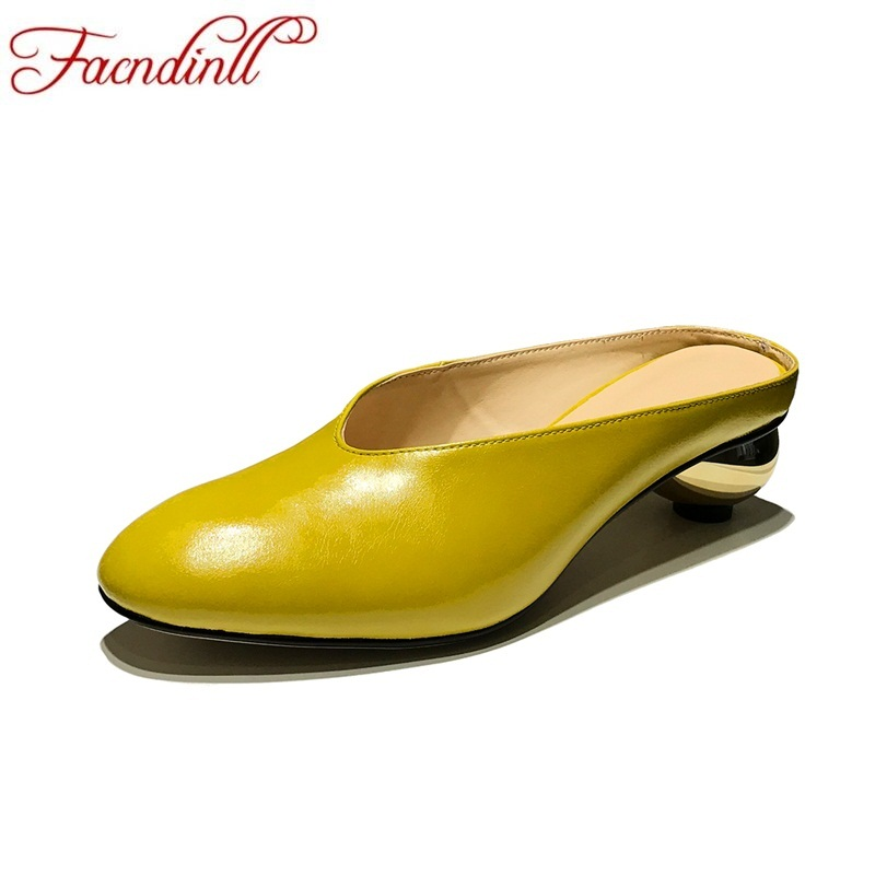 FACNDINLL genuine leather women sandals new 2018 fashion summer high heels strange style party shoes yellow dress and gray shoes facndinll genuine leather sandals for