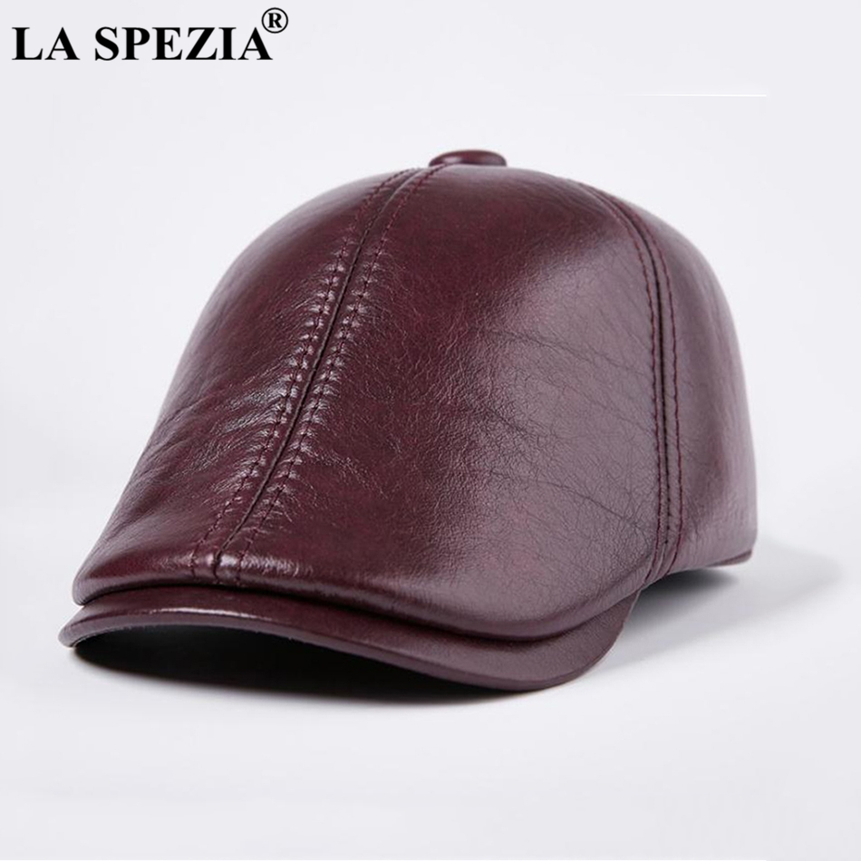 LA SPEZIA Burgundy Hat Beret Men Casual Genuine Leather Male Ivy Caps Warm Winter Thick Adjustable Designer Duckbill Flat Hats
