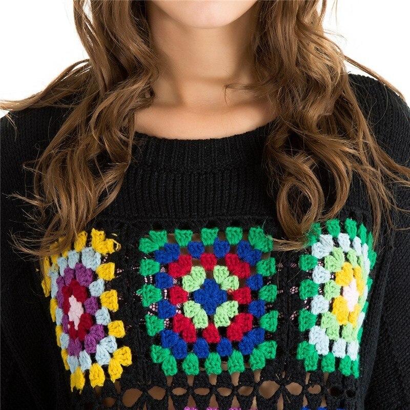 Deturbg Bunte Geometrische Muster Pullover frauen Casual Tropfen Schulter Hand Gestrickte Schwarz Pullover Kintwear 2018 Herbst SW94