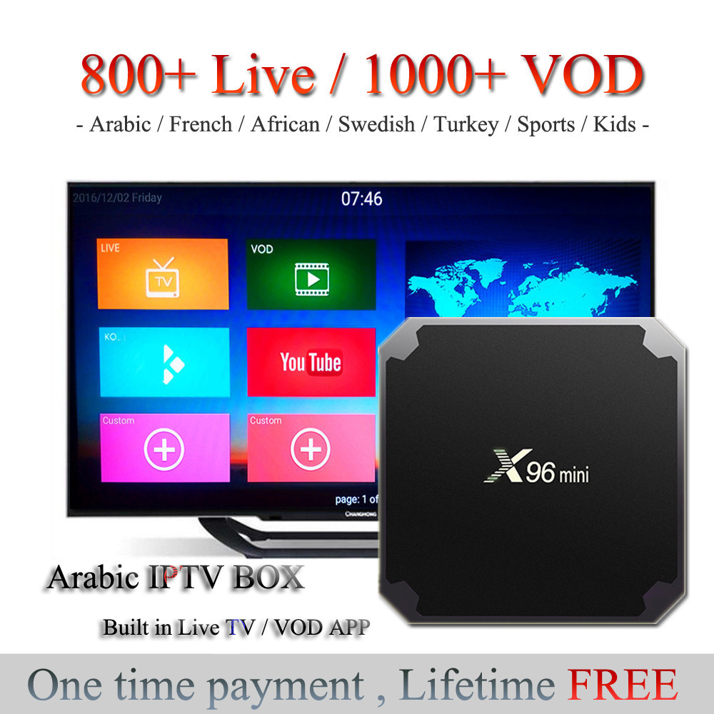 Arabic IPTV Box Lifetime Free No Monthly Fee 800 Live TV Arabic African French Swedish Channels