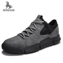 HOMASS 2018 Primavera Outono Calçados Casuais dos homens Lace-up Plana Com Sapatos de alta qualidade Sapatos Casuais Para Homens sapatos Da Moda respirável