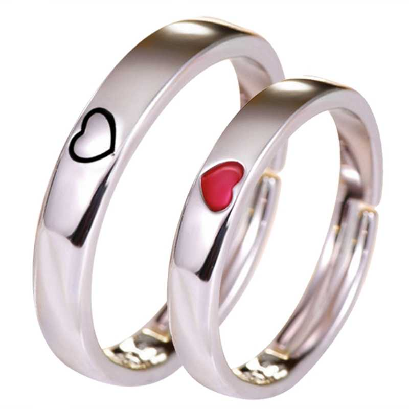 Classic Ring For Women & Men Jewelry Eternity Love Gift Stainless Steel Rings  Heart Adjustable Couple Rings For Girls Boys