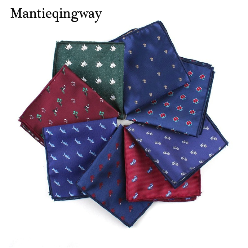 Mantieqingway Business Men's Handkerchief Polyester Chest Towel For Women Animals Pattern Pocket Squares Handkechiefs Hanky