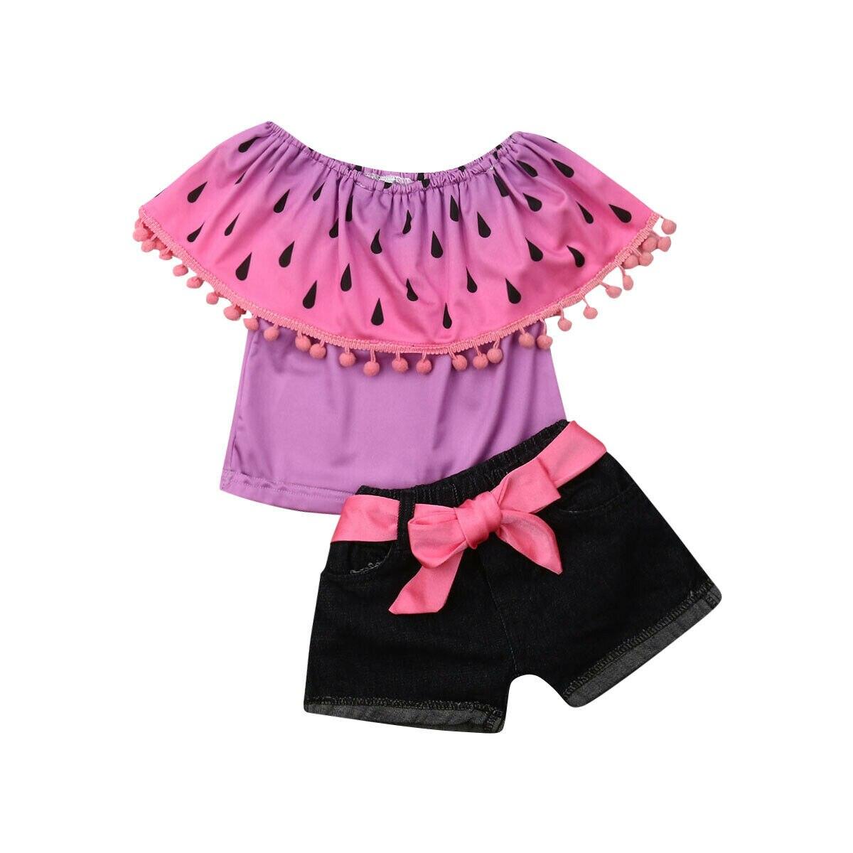 1-6y Sommer Kleinkind Kinder Baby Mädchen Lotus Kragen Wassermelone Tops Denim Shorts Jean 2 Pcs Mode Mädchen Kleidung Set Moderater Preis