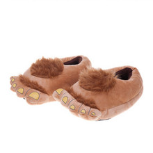 New Thermal Winter Cotton Slippers Women Men Plush Soft Cotton Padded Shoes Warm Hobbit Big Feet Home Floor No Slip EVA slippers