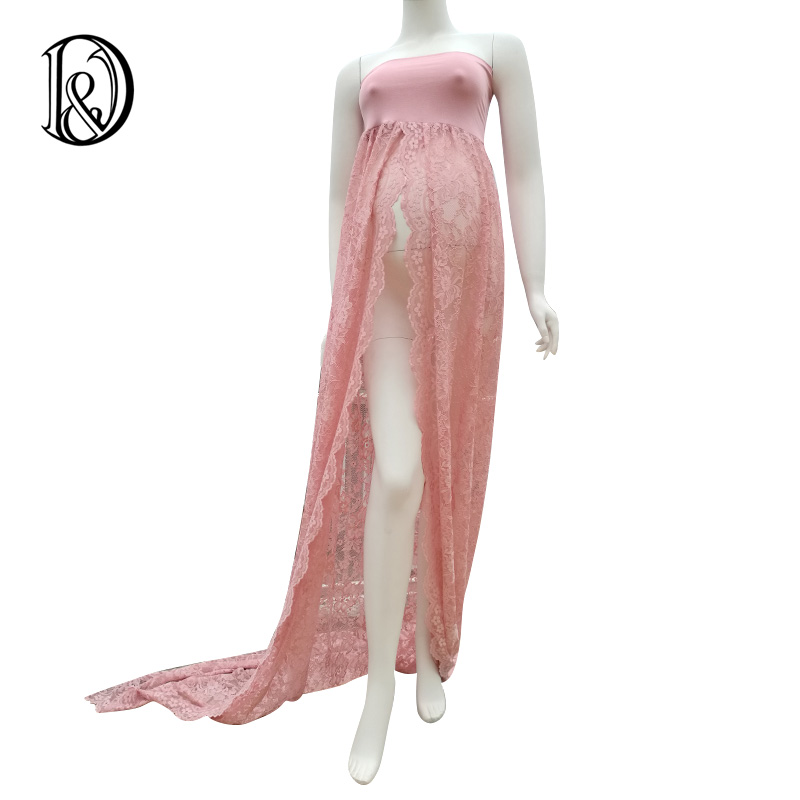 (170cm) Boob Tube Maternity Dress Lace Shoot Split Front Style Gown Free Size Stretch Maternity Photo Props Baby Shower Gift