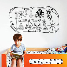 Wall Decal Pirate Map Treasure Gold Island Cartoon Kids Girls Boys Teenager Bedroom Vinyl Sticker Themed Gift 3003