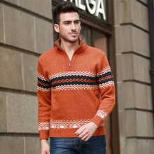 Autumn Men's Knitted Sweater Zipper Mandarin Collar Men Pullovers Sweater Male Thick Sweater