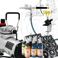 Deluxe Temporary Tattoo Body Paint Makeup Airbrush Kits with 0.3mm Nozzle Airbrush and Compressor
