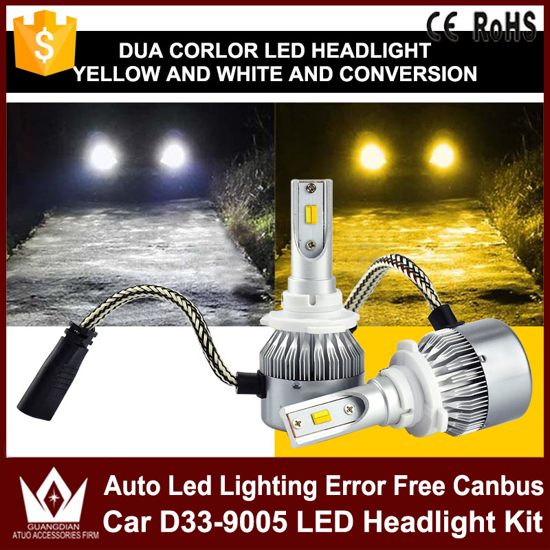 Tcart 2x 9005 HB3 9006 HB4 dual color car led headlight white yellow Headlamp Bulbs fog lamps for Plips chip 36w auto led light