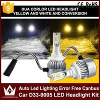 2x 9005 HB3 9006 HB4 Dual Color Car Led Headlight White Yellow Headlamp Bulbs Fog Lamps