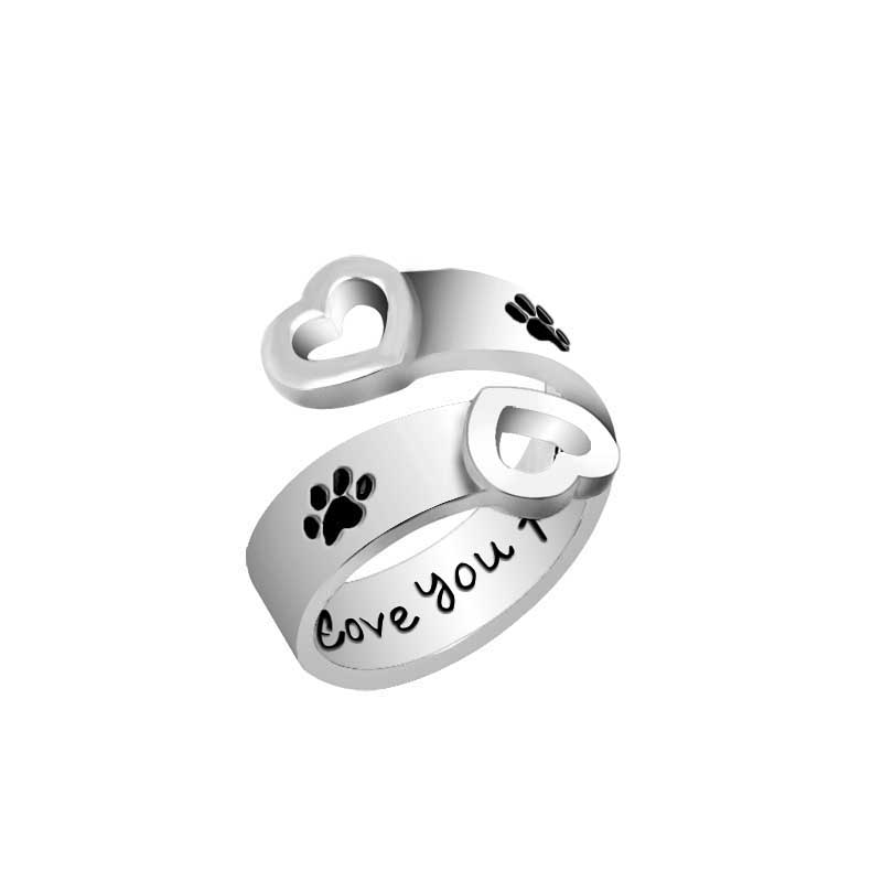 """I love you forever"" Belettering ringen voor vrouwen Pet paw prints ringen Hollow Heart Design Paw Footprint verstelbare ringen"