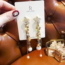 Korean Handmade Silver Needles Anti-allergy Star Pearl Rhinestone Drop Earrings Dangle Fashion Jewelry-BYD5
