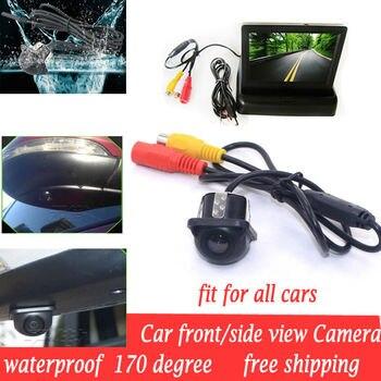 Мини CCD HD Ночное видение 170 градусов Универсальный Автомобильный вид спереди и сбоку Водонепроницаемая камера + фронтальный боковой монитор