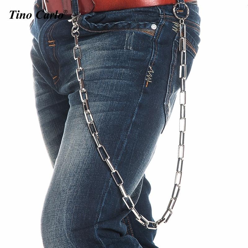 33u0026quot; Celebrity Style Men Silver Metal Heavy Extra Long Biker Wallet Chains Punk Key Chain Rock ...
