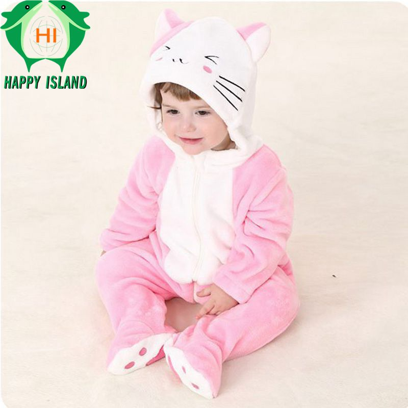 HAPPY ISLAND Kids Clothing Soft Infant Hooded Jumpsuit Sets Hello Kity Cat Onesie 100% Flannel Long Sleeve Baby Jumpsuit Rompers