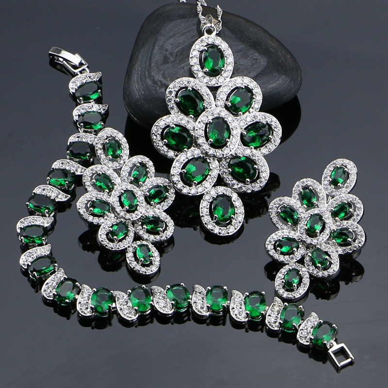 New Green Cubic Zirconia White Rhinestone Jewelery 925 Sterling Silver Jewelry Sets For Women Necklace/Pendant/Earrings/Bracelet nokotion a000076380 laptop motherboard for toshiba satellite l655d l650d socket s1 ddr3 da0bl7mb6d0