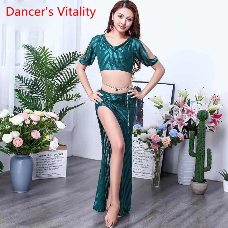 New Arrival Women Belly Dance Mesh Divide Long Skirt Women's Performance Defined Performance Dance Practice Set Costume