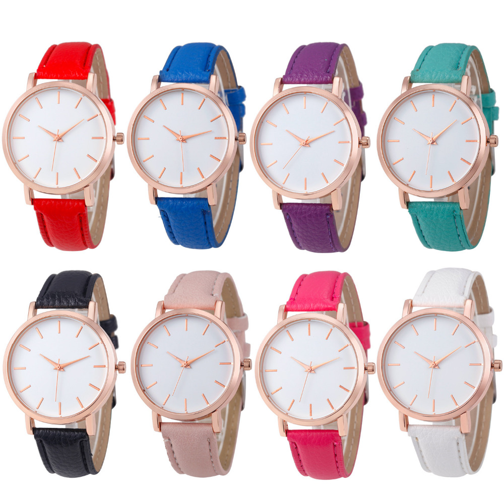 Women Fashion Ladies Watches Leather Stainless Steel Analog Luxury Wrist Watch white 1