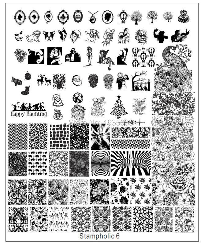 XXL Stampholic1-8 nail art image plate nail template CHOOSING DESIGNS nail beauty TOOLS nail disk