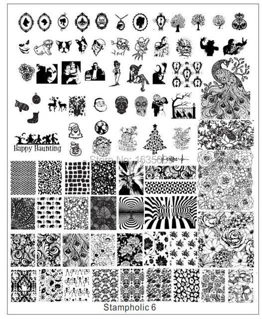 XXL Stampholic1-8 nail art nail placa de la imagen plantilla de la ELECCIÓN de DISEÑOS de uñas HERRAMIENTAS de belleza de uñas de disco