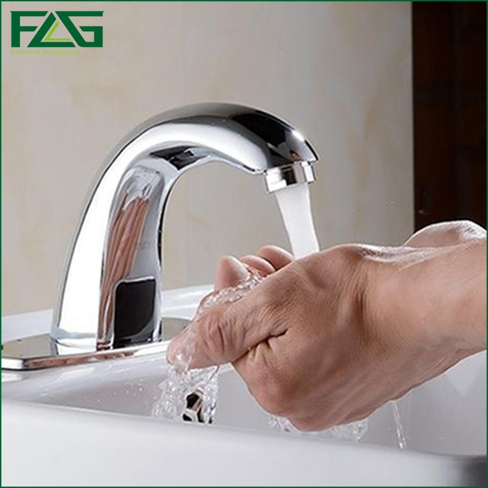 ФОТО FLG Basin Faucet Chrome Cast 2 Automatic Inflated Sensor Touch Free Faucets Crock Deck Mounted Battery Power Sink Mixer Tap T16