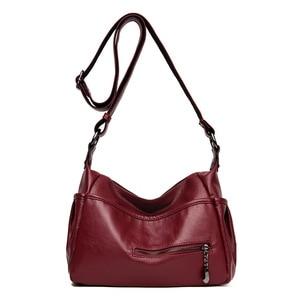 Image 1 - Soft Genuine Leather Women Lady Crossbody Purse Satchel Tote Shoulder Bag With Tassel Luxury Burgundy Handbag Fashion 2018 C1118