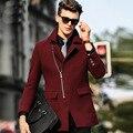 Casaco de lã homens trincheira cor sólida 2016 primavera outono inverno dos homens Windbreakers inglaterra estilo grosso zíperes completa casaco de lã masculina
