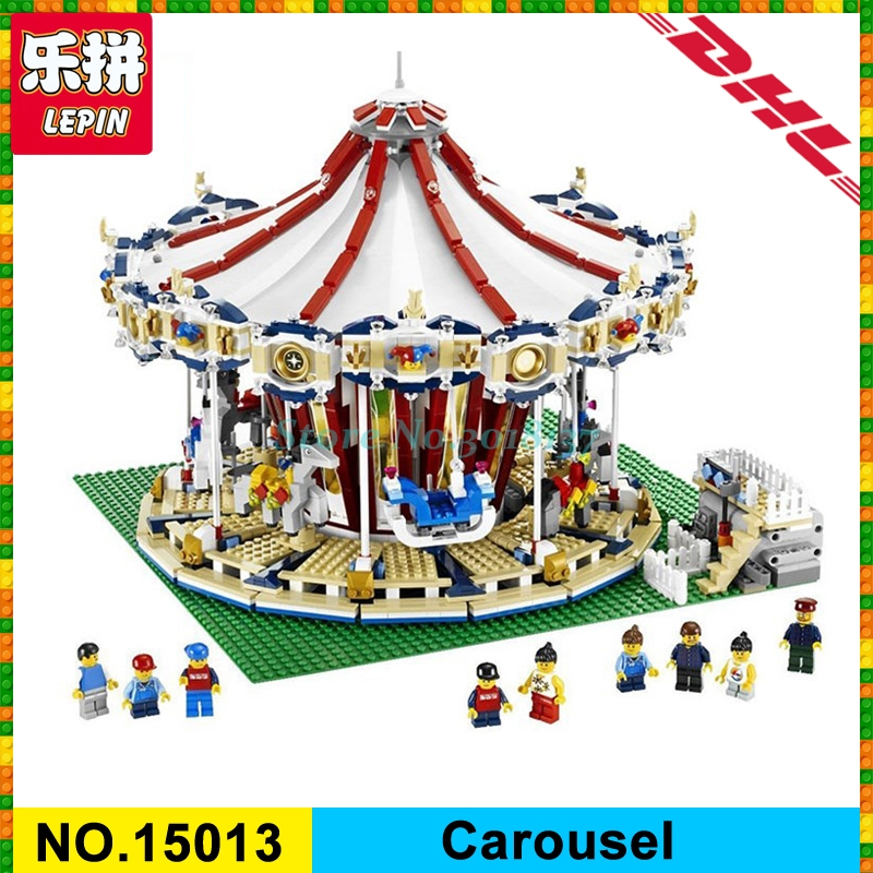 Lepin 15013 City Sreet Carousel Model Building Kits Blocks Funny Toy Compatible 10196 for children Christmas Gift in stock lepin 15013 city sreet carousel model building kits blocks toy compatible 10196 with funny children educational lovely gift toys